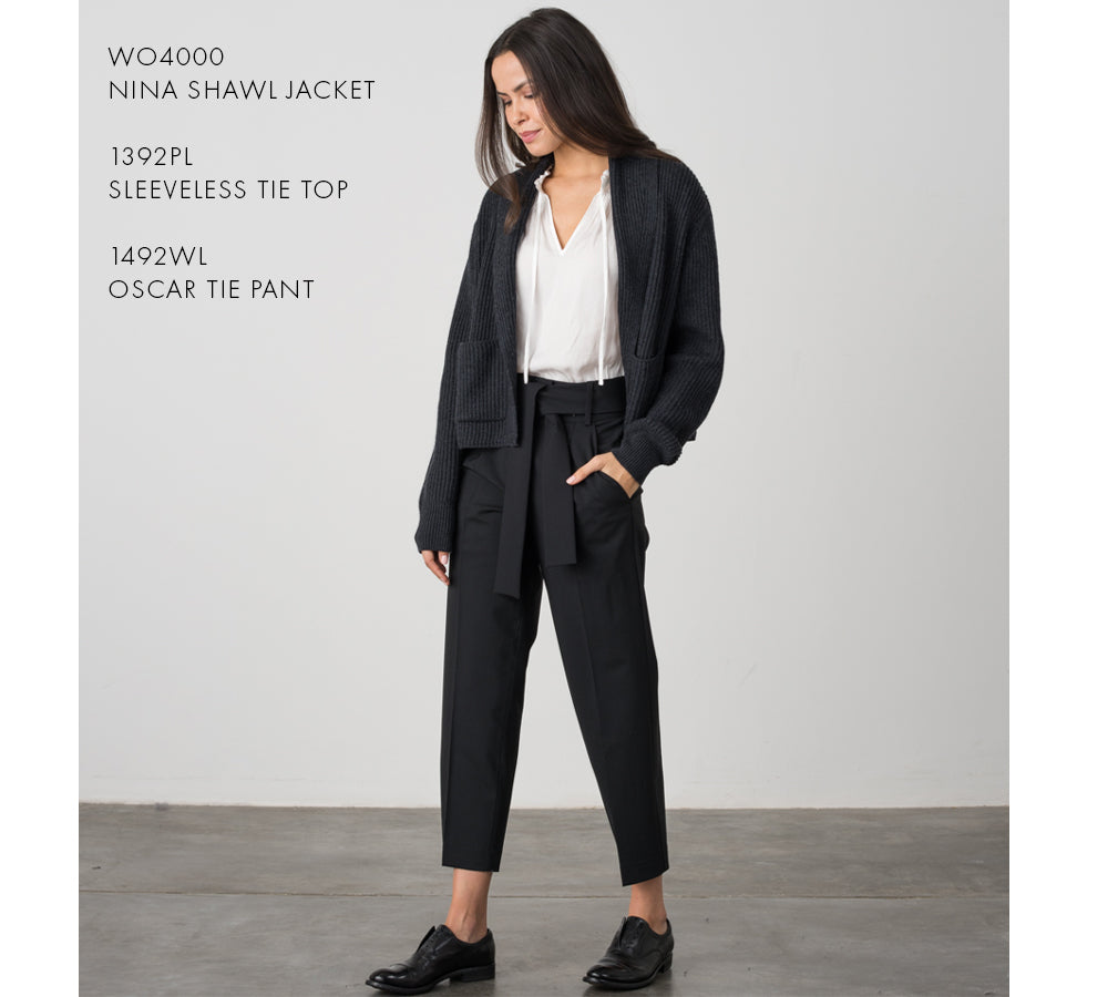 Modern and chic look: Nina Shawl Jacket and Sleeveless Tie Top and Oscar Tie Pant