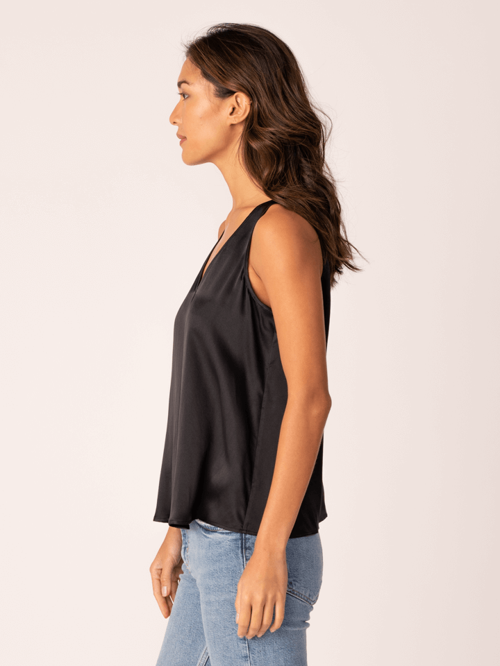 DOUBLE VEE SILK TANK