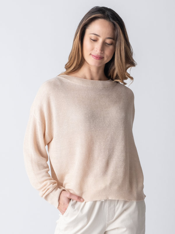 SANDY RIBBED PULLOVER
