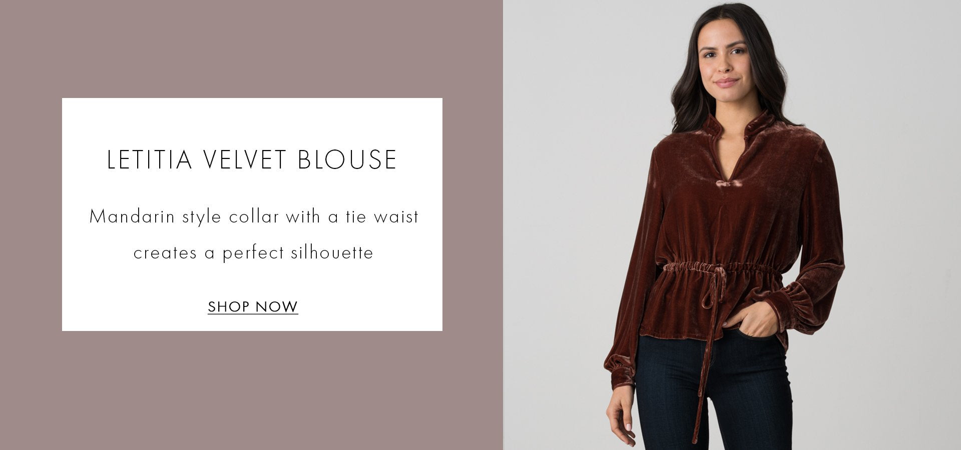 Letitia velvet blouse mandarin style collar with a tie waist creates a perfect silhouette