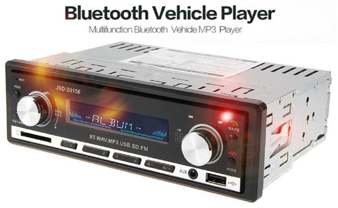 1 Din Car Radio Auto Audio Stereo 12V Bluetooth In-dash Single Din JSD - 20158 FM Receiver Aux Input Receiver USB MP3 MMC WMA