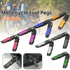 1 Pair 8mm Hole Universal Motorcycle Metal Passenger Rear Foot Pegs Pedal