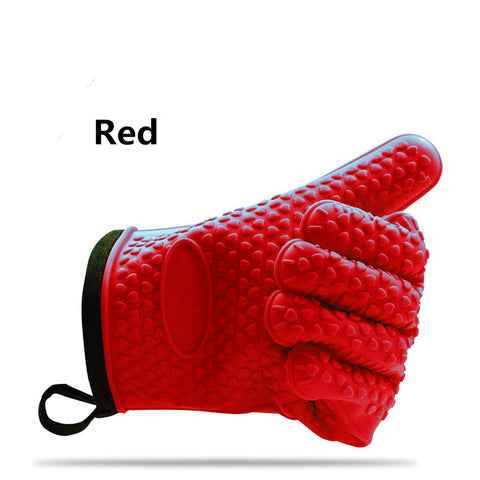 1 Pair Silicone BBQ Gloves Heat Resistant Oven Mitt Non-Slip Potholders Internal Protective Cotton Layer