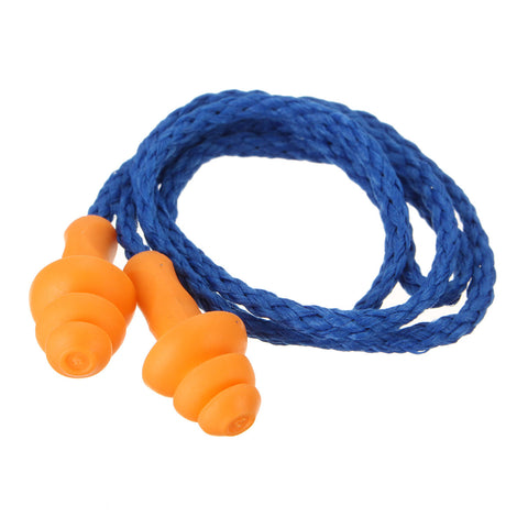 1 Pair of Reusable Hearing Earplugs Corded Soft Silicone Ear Plug Noise Reduction Ear Protector Earmuffs