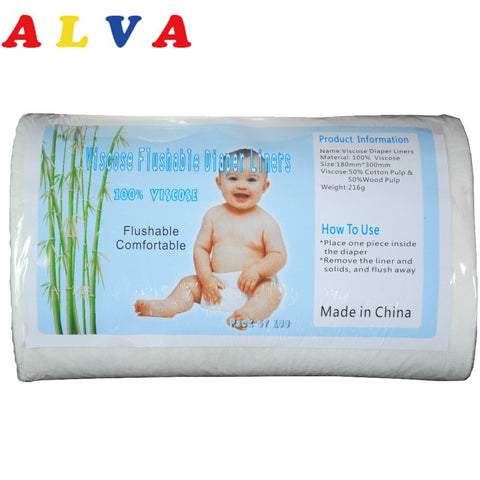 1 Roll ALVA Biodegradable Flushable Nappy Liners Flushable Viscose Liner for Baby 40 Grammes per Square Metre