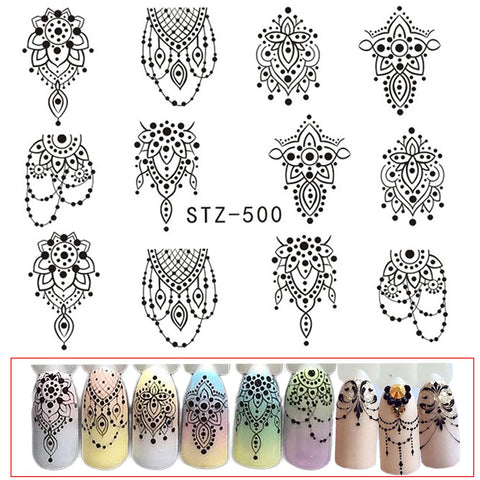 1 SheetsNail Sticker Black Necklace Jewelry Beauty Water Transfer Stamping Nail Art Tips Nail Decor Manicure Decal CHSTZ500