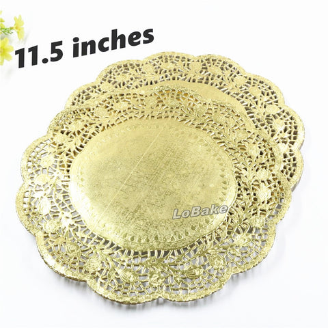 (100 pieces/pack) Beautiful 11.5 inches gold colored round paper lace doilies cupcake bread placemats DIY bakeware cake tools