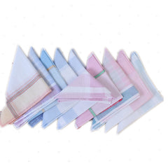 10Pcs Multicolor Square Stripe Ladies Handkerchiefs Cotton Vintage Pocket Hanky Plaid Handerchief Ladies Hankies 29*29cm