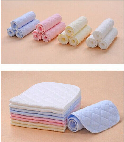 10pcs/lot 3 Layers Ecological Cotton Baby Cloth Nappy Inserts Reusable Washable Diapers Nappy Liners Nappy Changing