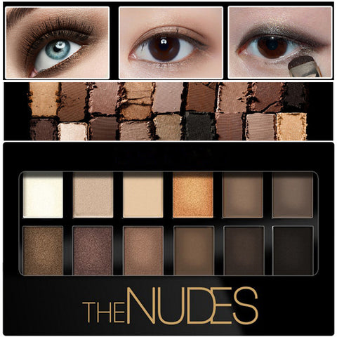 12color Pigment Bronzer Glitter Matte Eye ShadowCosmetics Eyes Makeup Palette Nude Eyeshadow Kit