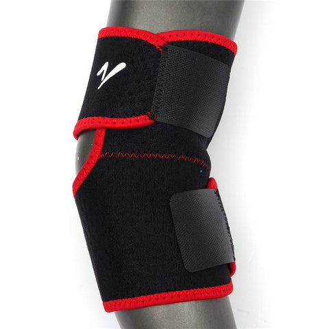 1pcs  Sports Practical Adjustable Elastic Knee Elbow Support Brace Strap  Outdoor Black+RedSale