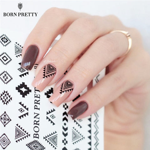 2 Patterns/Sheet BORN PRETTY Triangle Diamond Shape Nail Art Water Decals Transfer Sticker BPY05