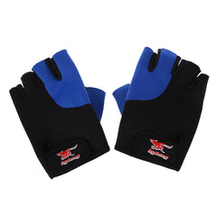 2 Pcs Black Blue Neoprene Fingerless Sports Gloves for Men