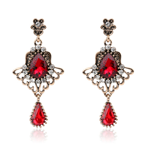 Luxury Turkish Red Glass Earrings For Women Vintage Look Feather Wings Glass Crystal Rose Gold Earring