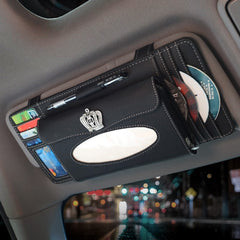 2018Crown Tissue Box Visa Cards Holder CD Case Pen Clip Auto Sun Visor Type Car Decoration Stowing Tidying Women