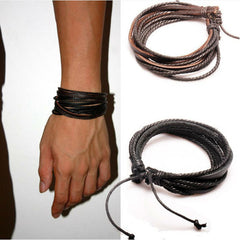 2Pcs Mens Bracelet Woven Leather Bracelet Hand Made Leather Rope Bracelets & Bangles With Braided Rope For Women/Men PK043