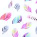 3 SheetsRainbow Colorful Feather Nail Art Sticker DIY Water Transfer Decals Decoration