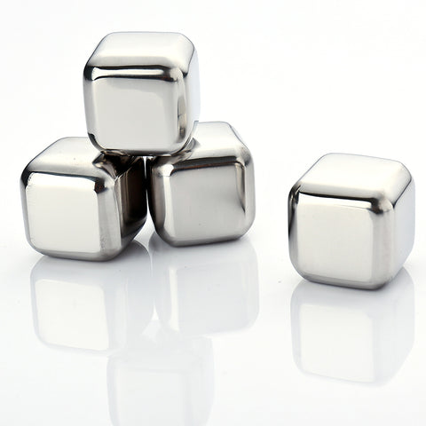 4Pcs Whiskey Wine Beer Stones Ice Cooler 440C Stainless Steel Coolers Stone Rock Ice Cube Edible Alcohol Physical Cooled