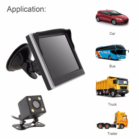5 Inch Car TFT LCD Monitor 800*480 2 Way Video Input + 170 Degrees Wide Angle Lens Night Vision Rear View Camera