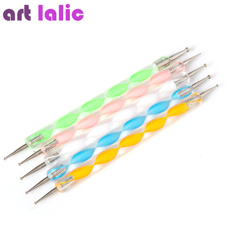 5 Pcs2-Way Nail Dotting Pen Marbleizing Painting Nail Tool Nail Art Pen Set For UV Gel Nail Tool