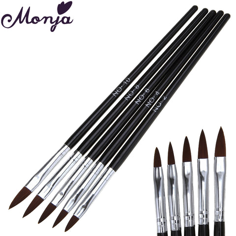 Monja 5pcs Nail Art Acrylic Liquid Powder Sculpture Brush Gel Polish Tips 3D Flower DIY Carving Builder Rhinestone Beads Dot Pen