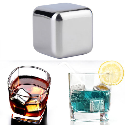 5 pcs/lot Newest Whiskey Stainless steel Stones Whisky ice cooler for Whiskey beer Bar household WeddingFavor Christmas