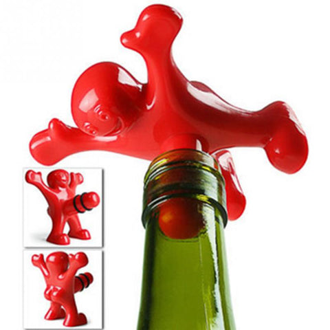 5 pcs/lot Plastic Red happy man Wine Bottle Stoppers Kitchen Bar Tools fit general wine bottles