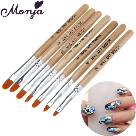 Monja 7 Size Nail Art Round Top Paint Brush Acrylic Gel Polish Builder Extension Coating Daisy Rose Flower Petal DIY Draw Pen