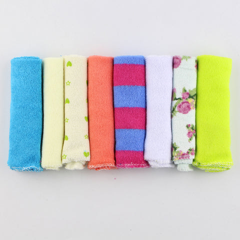 8pcs set 22*22cm Soft Cotton Newborn Baby Infant Kids Feeding Bibs Hand Face Towel Wipes Cloth Handkerchief Washcloth Boys Girls