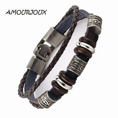 AMOURJOUX Handmade Retro Dark Genuine Leather Woven Charm Bracelet Men Vintage Beads Braided Bracelets Bangles Male Jewelry