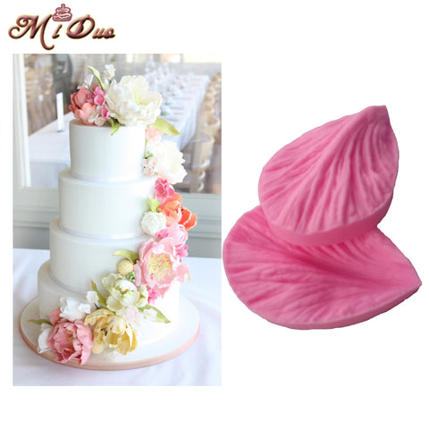 All Purpose Gumpaste Veiners Mould Peony Fondant Sugarcraft Peony Petal Silicone Veiner Flower  Cake Decorating Moulds