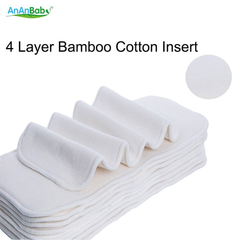 Ananbaby 1pcs Bamboo Cotton Inserts 4 Layers Reusable Insert For Baby Cloth Diaper Babies Nappy Inserts Size 14x35CM