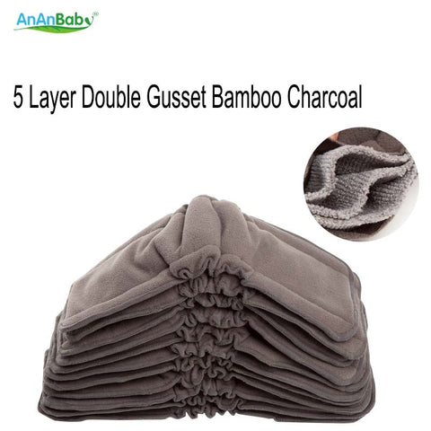 Ananbaby Bamboo Charcoal Pads Stay Dry Reusable nappies 5 Layers Bamboo Charcoal Gusset Inserts Washable Diapers Bamboo Inserts
