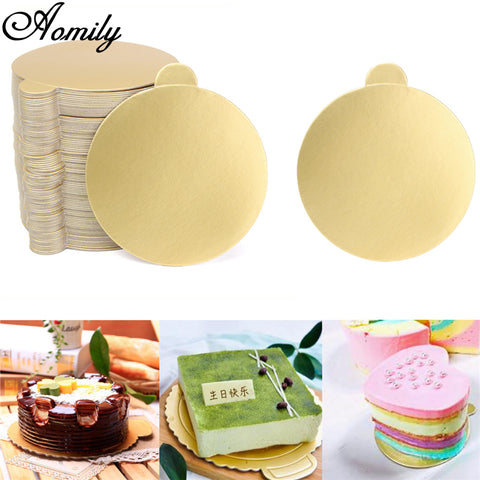 Aomily 100pcs/Set Round Mousse Cake Boards Gold Paper Cupcake Dessert Displays Tray Wedding Birthday Cake Pastry Decorative Kit
