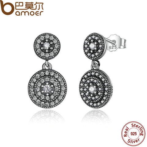 BAMOER 925 Sterling Silver Radiant Elegance Earrings Clear CZ Crystals Surrounded Ancient Silver Women Drop Earings PAS471