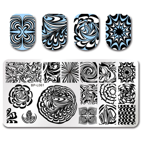 BORN PRETTY Water Marble Stamping Template Rectangle Manicure Nail Art Stamp Image Plate BPL-61
