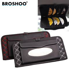 BROSHOO 2 in 1 Car Sun Visor Tissue Box Holder 14 Disc Tidy Sleeve CD DVD Card Holder Car Interior Accessories Styling
