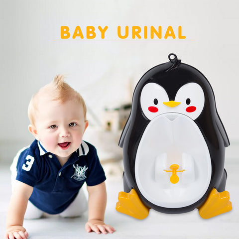Baby Boys Standing Urinal Penguin Shape Wall-Mounted Urinals Toilet Training Children Stand Vertical Urinal Potty Suction Cup