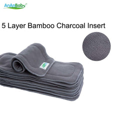 Baby Changing Pads Reusable 5 Layer Bamboo Charcoal Diaper Insert Super-absorbency Nappy Changing Mats Liners Fit Diapers