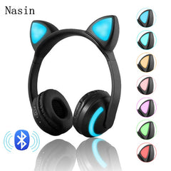 Bluetooth Stereo Cat Ear Headphones Flashing Glowing cat ear headphones Gaming Headset Earphone 7 Colors LED light