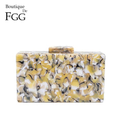 Boutique De FGG Marble Stone Pattern Women Day Clutches Handbags Acrylic Box Clutch Evening Party Bag Ladies Chain Shoulder Bag