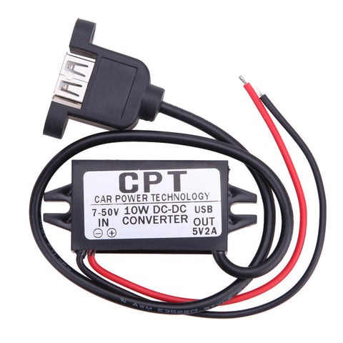 CPT-HUL-5 Vehicle Waterproof Power Supply Non-isolated Buck Module (Single USB Female With Mounting Ears) for Car Device