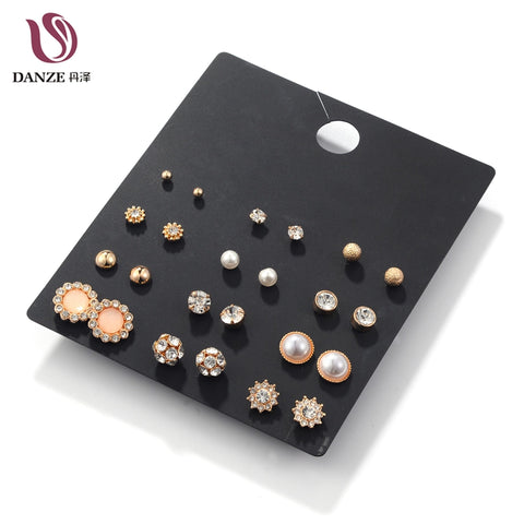 DANZE12 Pairs/Lot White Crystal & Simulated Pearl Stud Earrings Set Women Small Ear Studs Vintage Accessories Jewelry