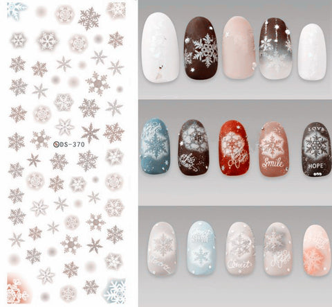 DS370 DIY Designer Water Transfer Nails Art Sticker Grey Snowflake Chirstmas Winter Nail Stickers Wraps Foil Sticker manicure