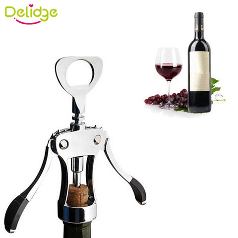 Delidge 1 pc Red Wine Opener Metal Wine Bottle Corkscrew Plated Steel Wing Typed Wine Opener Bar Tool