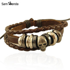 Vintage Braided Leather Bracelet Bangle Punk Rock Skull Wristband For Men BraceletsYK2041
