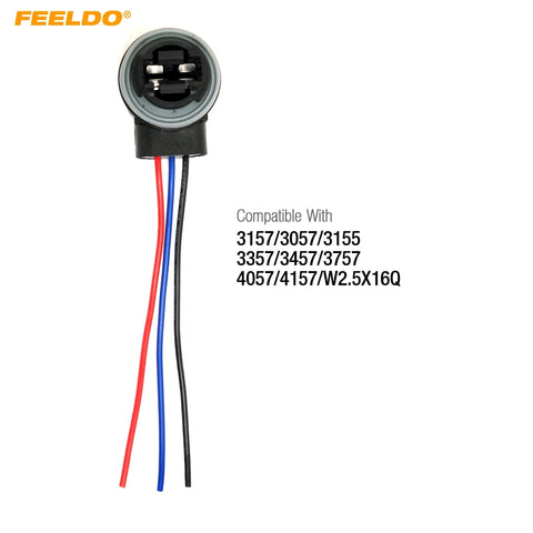 FEELDO 1Pc Car 3157/3057/3155/3357/3457/3757/4057/4157/W2.5X16Q LED Bulb Brake Signal Light Socket Harness Wire #FD-4515