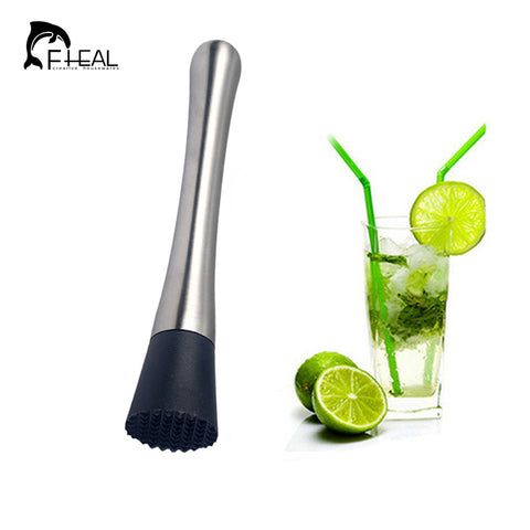 FHEALIce Cocktail Swizzle Stick Fruit Muddle Pestle Popsicle Sticks Crushed Stainless Steel Ice Hammer Bar Tools Wine Tools