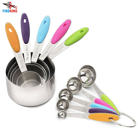 FINDKING 10 PCS Grade   Spoons Set and Stainless Steel Measuring Cups with Soft Silicone Handles for Easy Grip