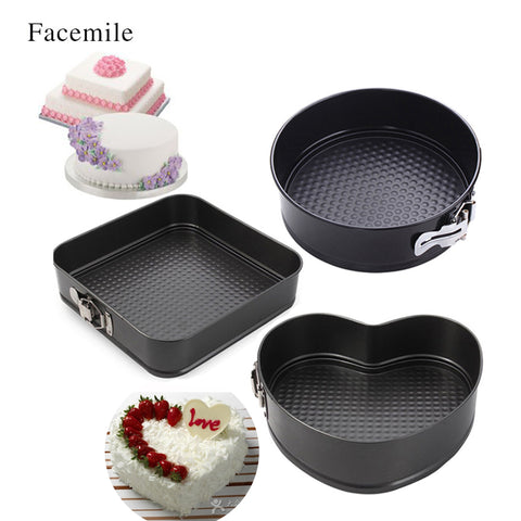 Facemile Heart Square Round Steel NonstickBaking Dishes Pans Removable Bottom Bakeware Springform Pan Cake Pans 54104